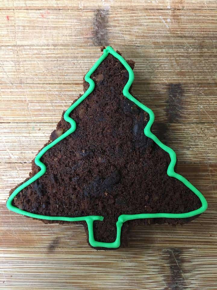 Crazy Christmas Tree Brownies with start of frosting