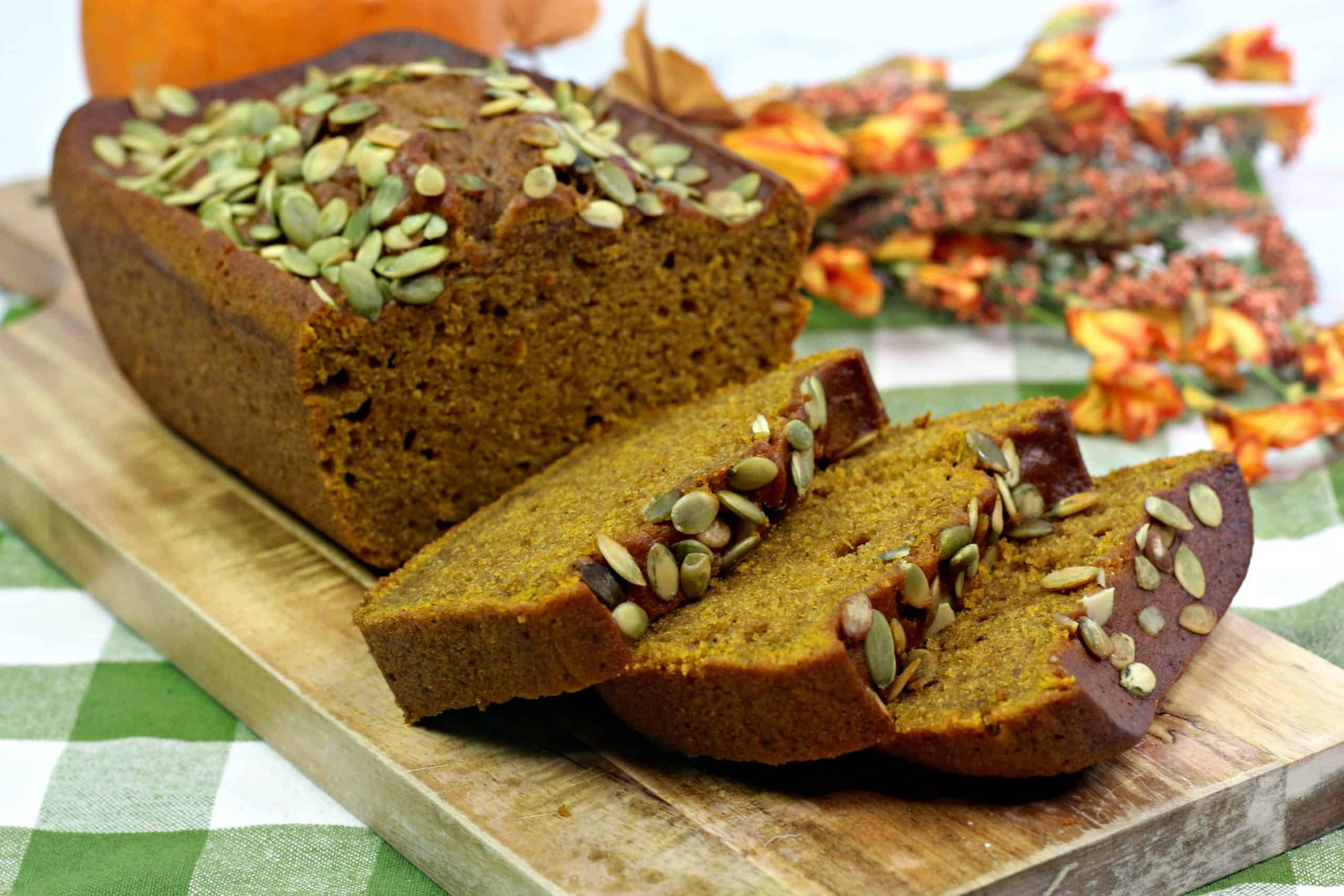 Starbucks Pumpkin Loaf on cutting board
