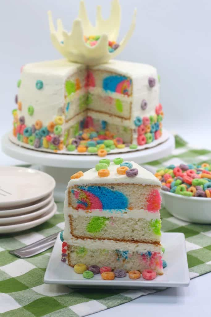 Froot Loops Cereal Cake with White Chocolate Milk Splash