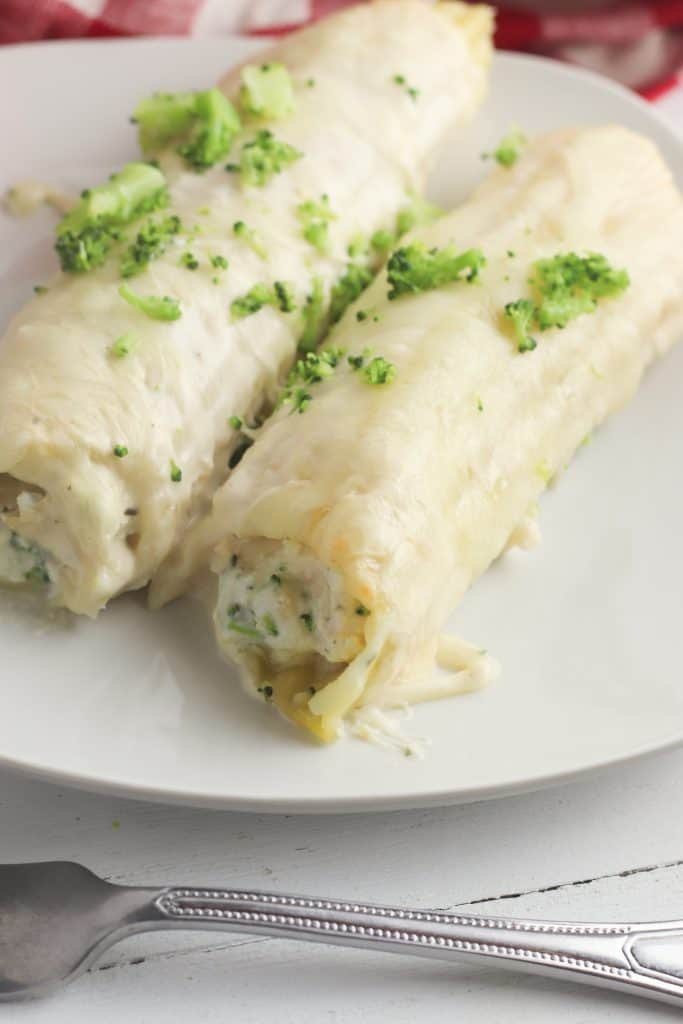 Chicken, Cheese and Alfredo Manicotti