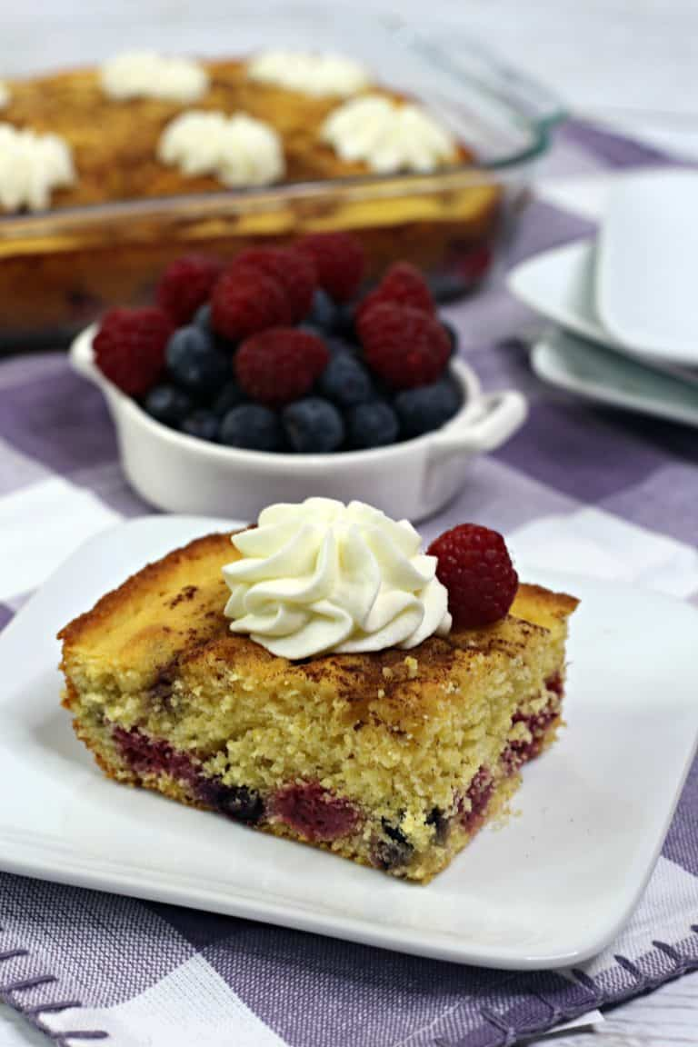 Berry Cornbread Coffee Cake Slice