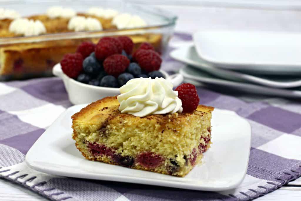 Berry Cornbread Cake Slice on plate