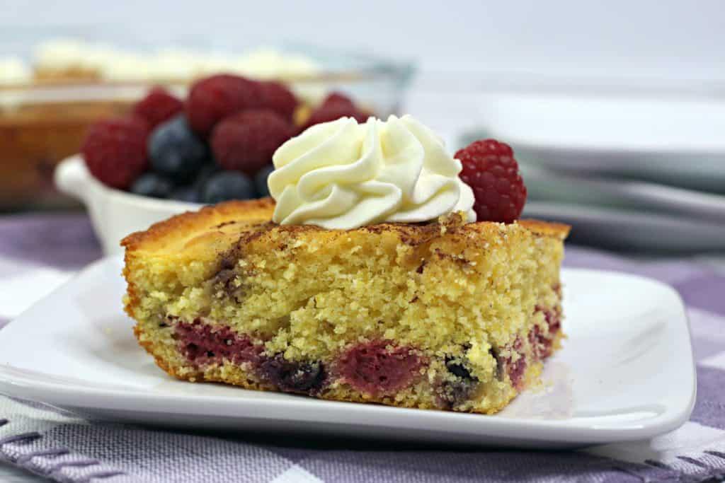 Berry Cornbread Cake Slice up close