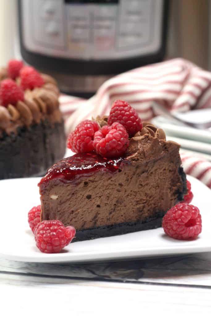 Instant Pot Chocolate Raspberry Cheesecake