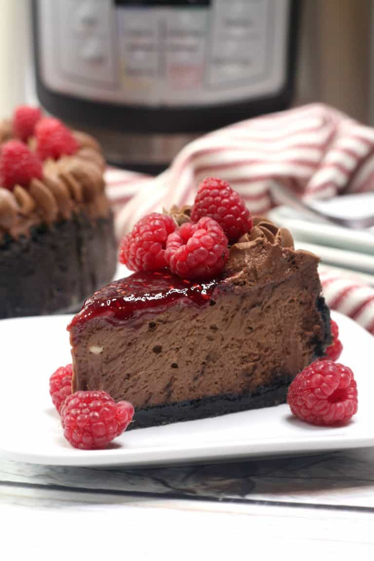 Instant Pot Chocolate Raspberry Cheesecake