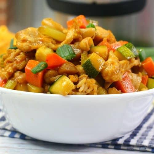 cashew chicken in bowl
