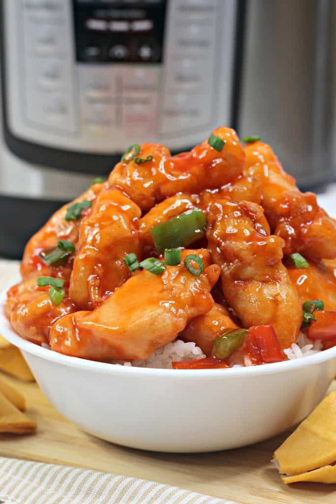 Instant Pot Sweet and Sour Chicken with rice