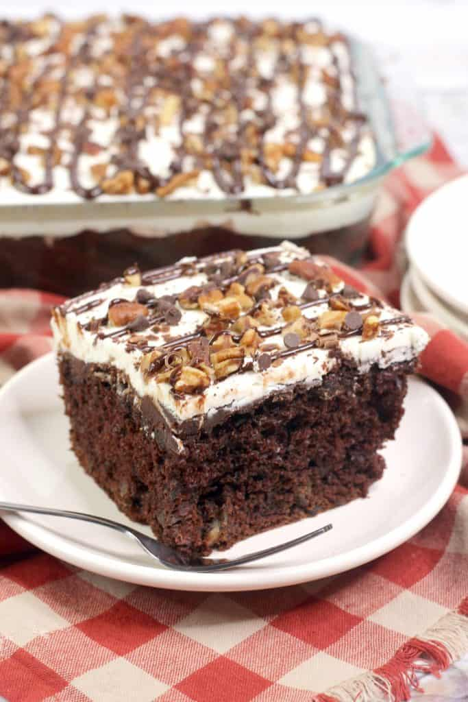 Chocolate Fudge Cake with Vanilla frosting and pecans