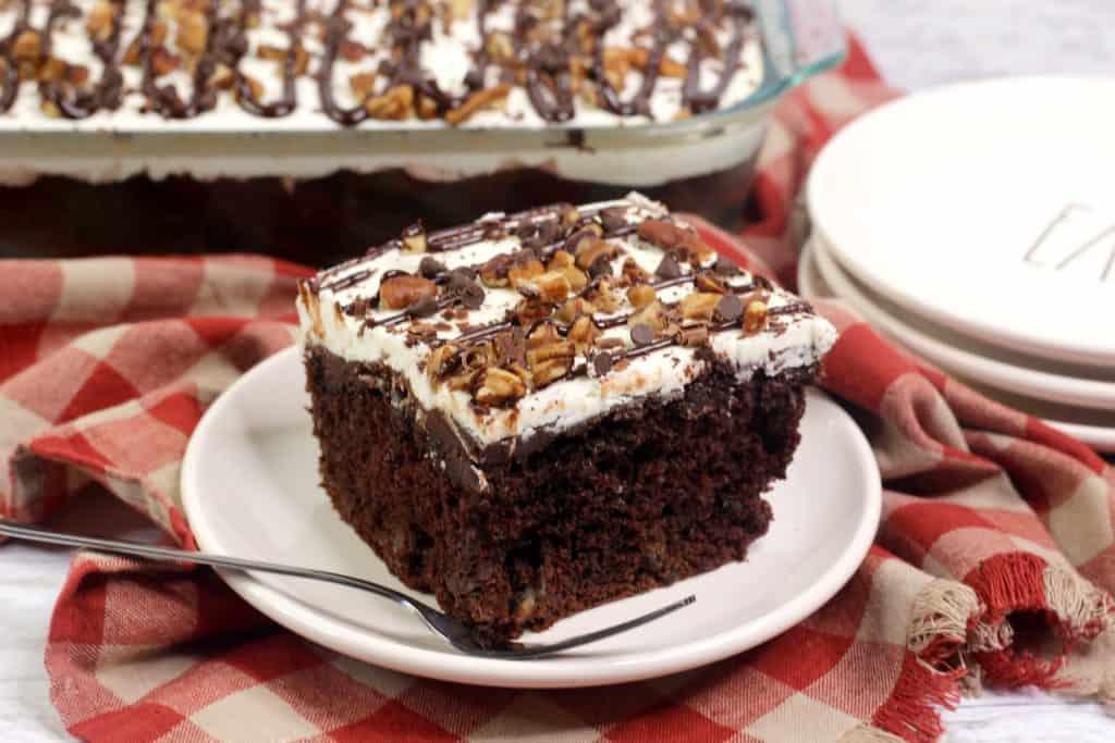 New York Super Fudge Sheet Cake Slice