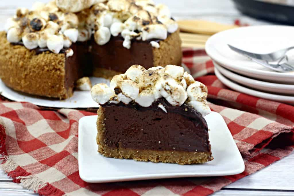 chocolate cheesecake slice with marshmallows on top