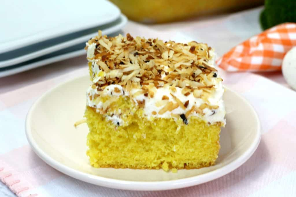 Rustic Coconut Sheet Cake Slice