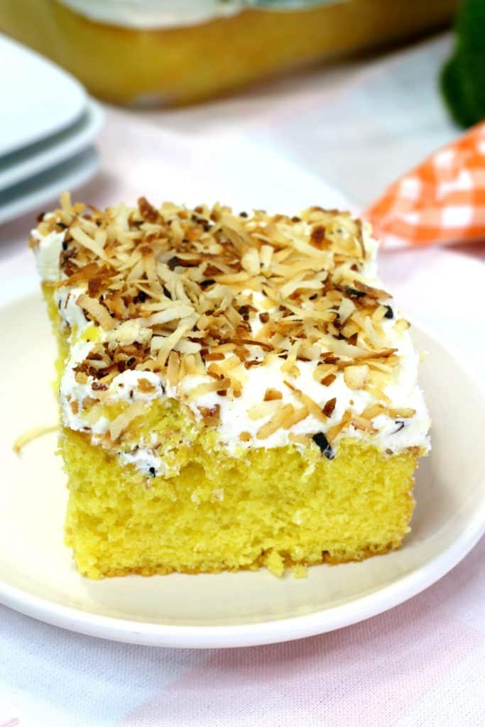Slice of coconut cake