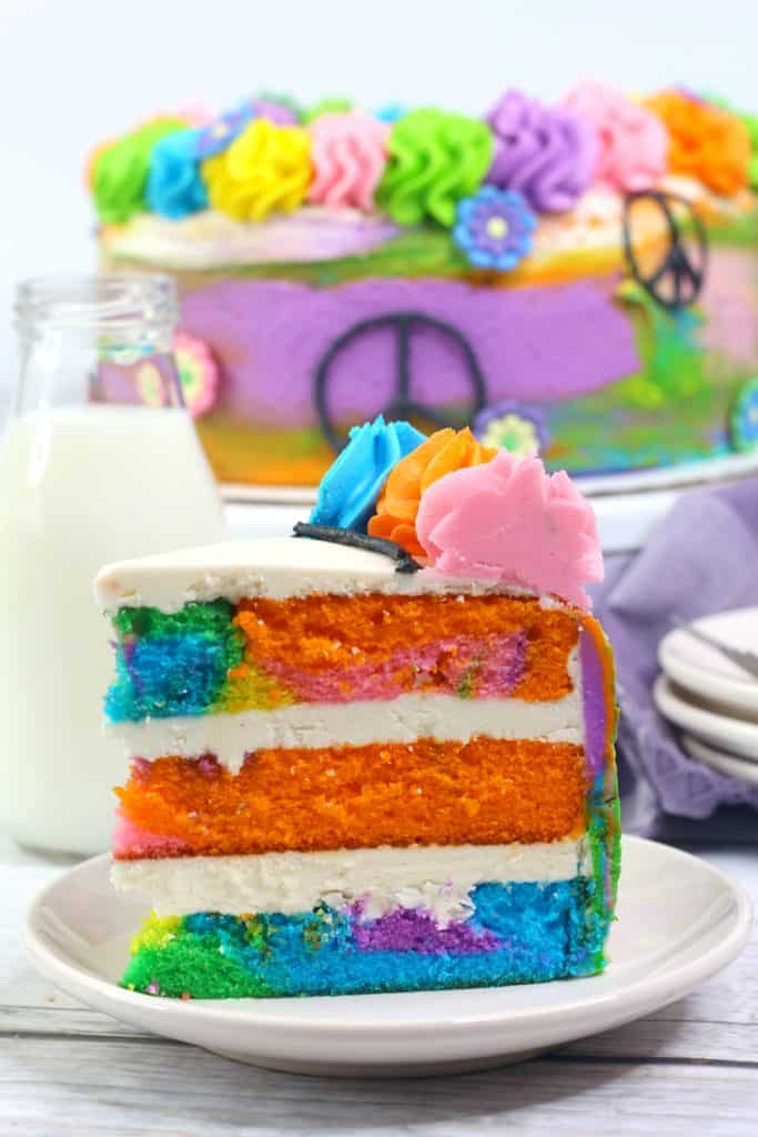 Colored Cake with Vanilla Frosting