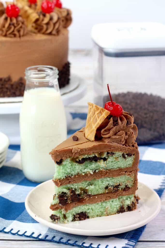 Mint Chip Cake Slice