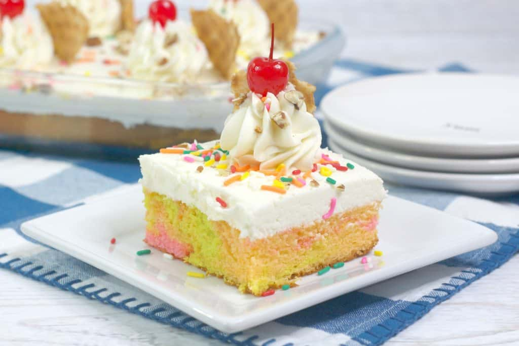 Fruit Sherbet Sheet Cake slice on plate