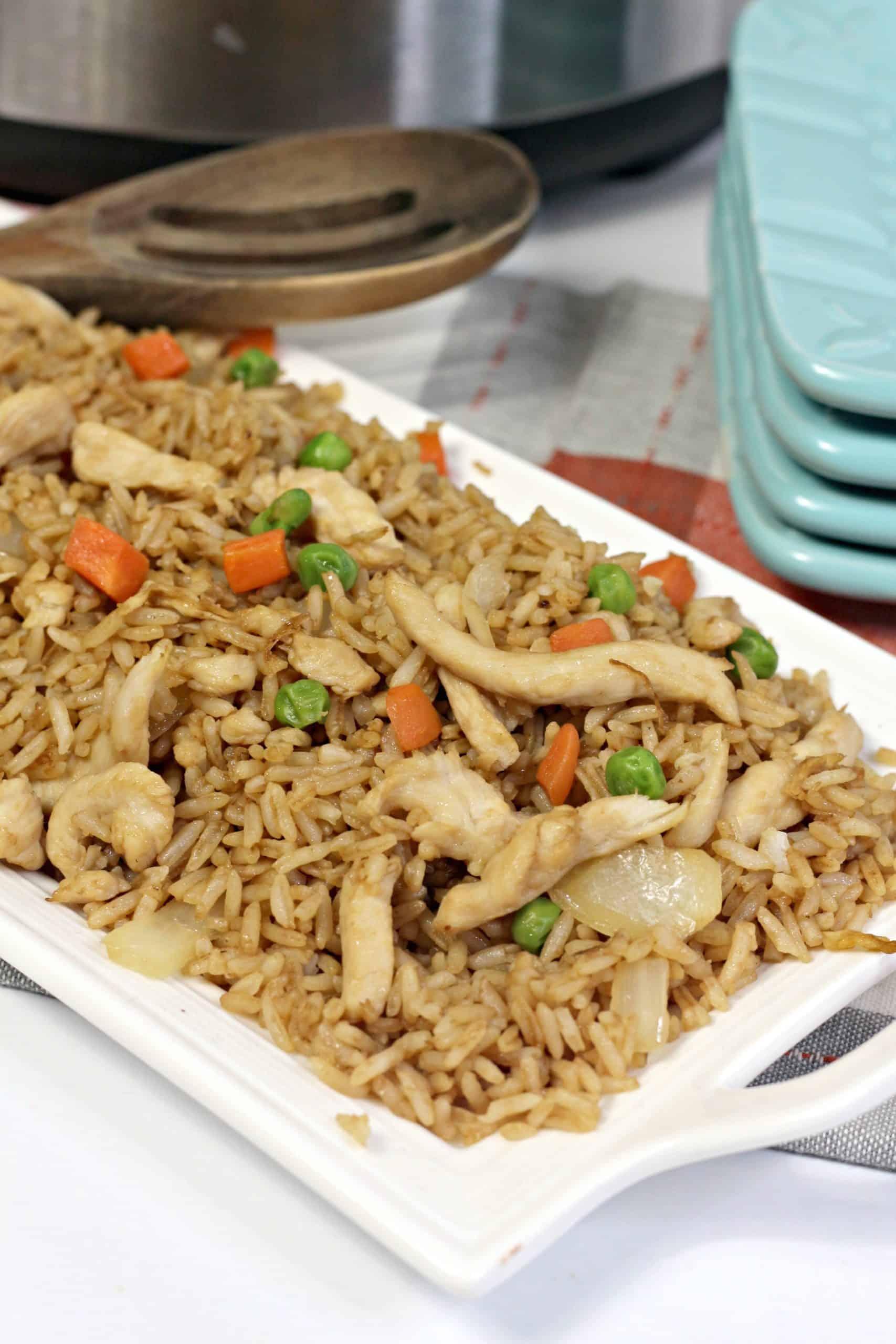 Instant Pot Chicken Fried Rice on platter