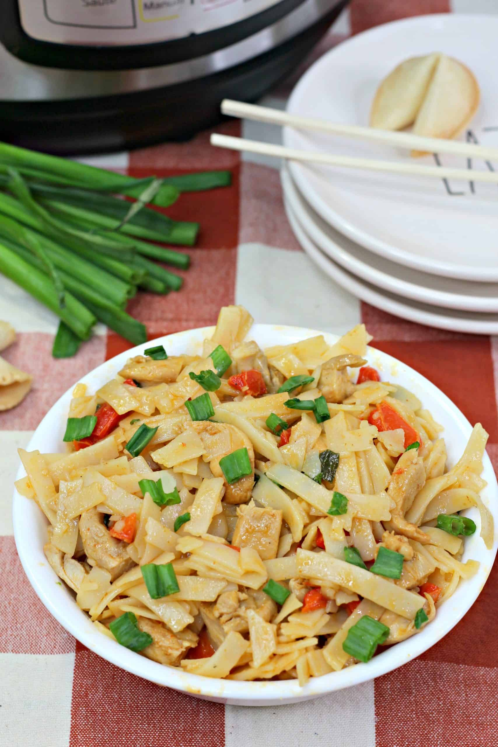 Thai Drunken Noodles in a bowl