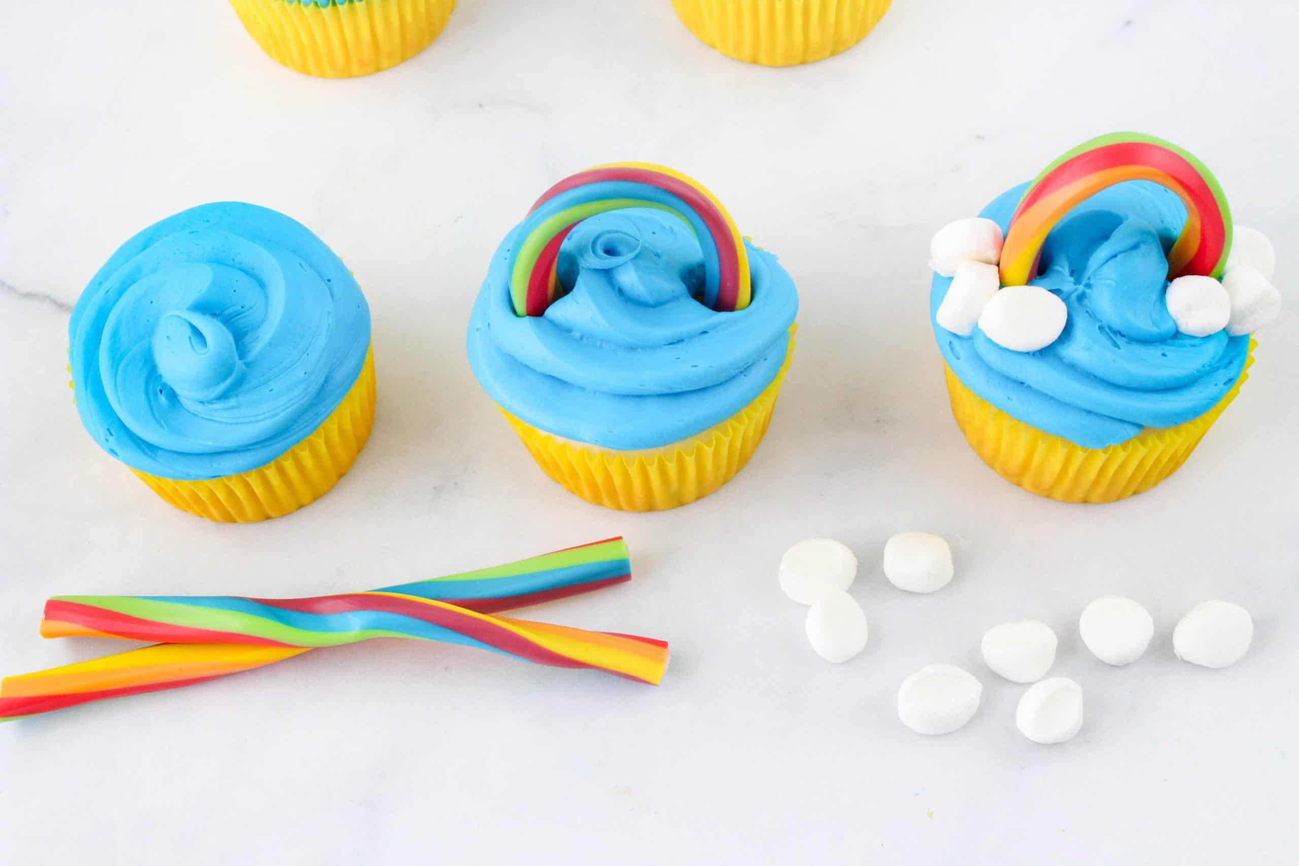 Rainbow Cupcakes with licorice rope
