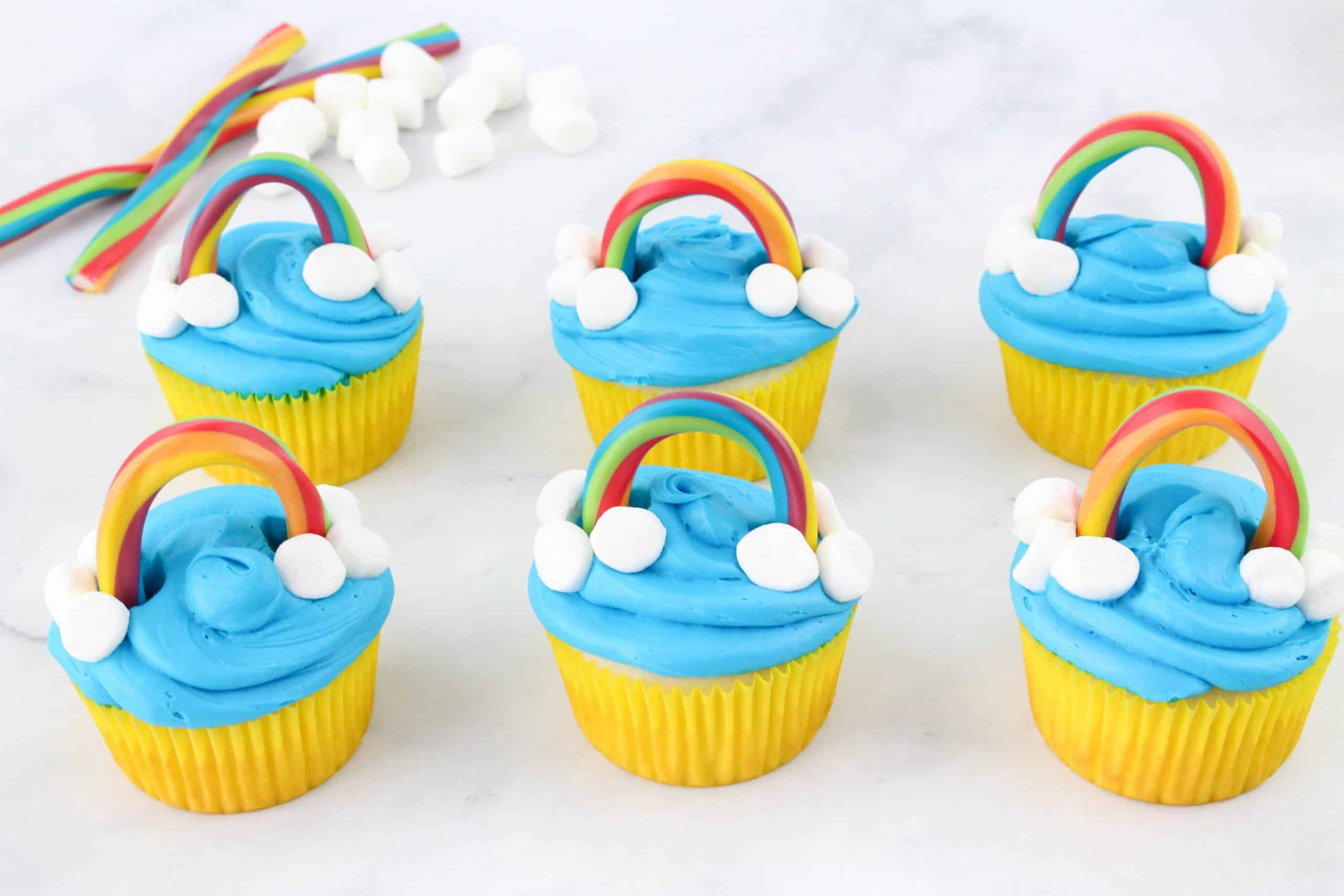 Group of Rainbow Cupcakes