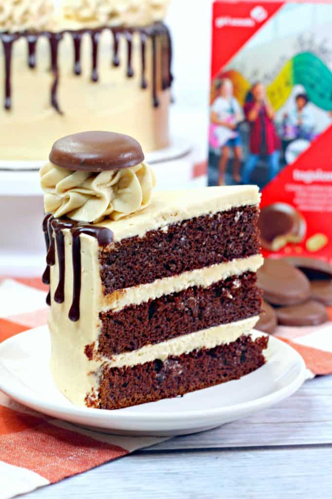 Slice of Tagalong Cake on plate