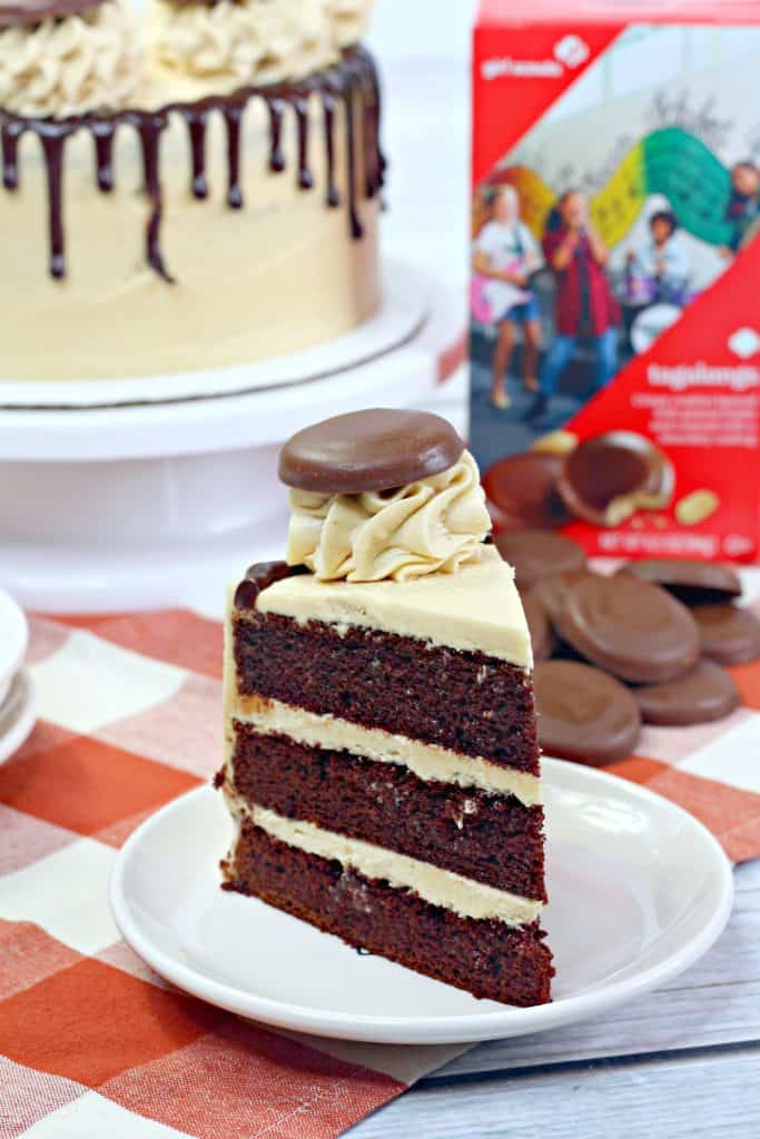 Slice of taglong cake on plate.