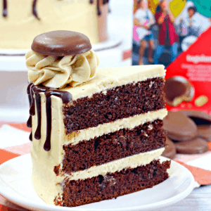 Side View of Slice of Tagalong Cake