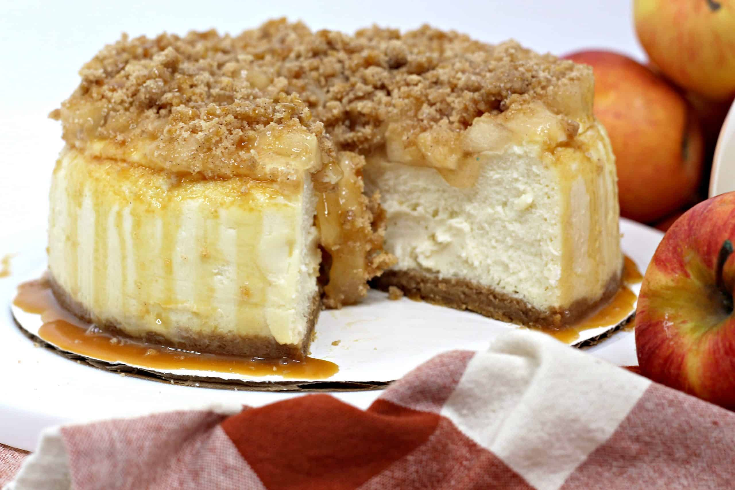 apple pie Cheesecake with slice missing