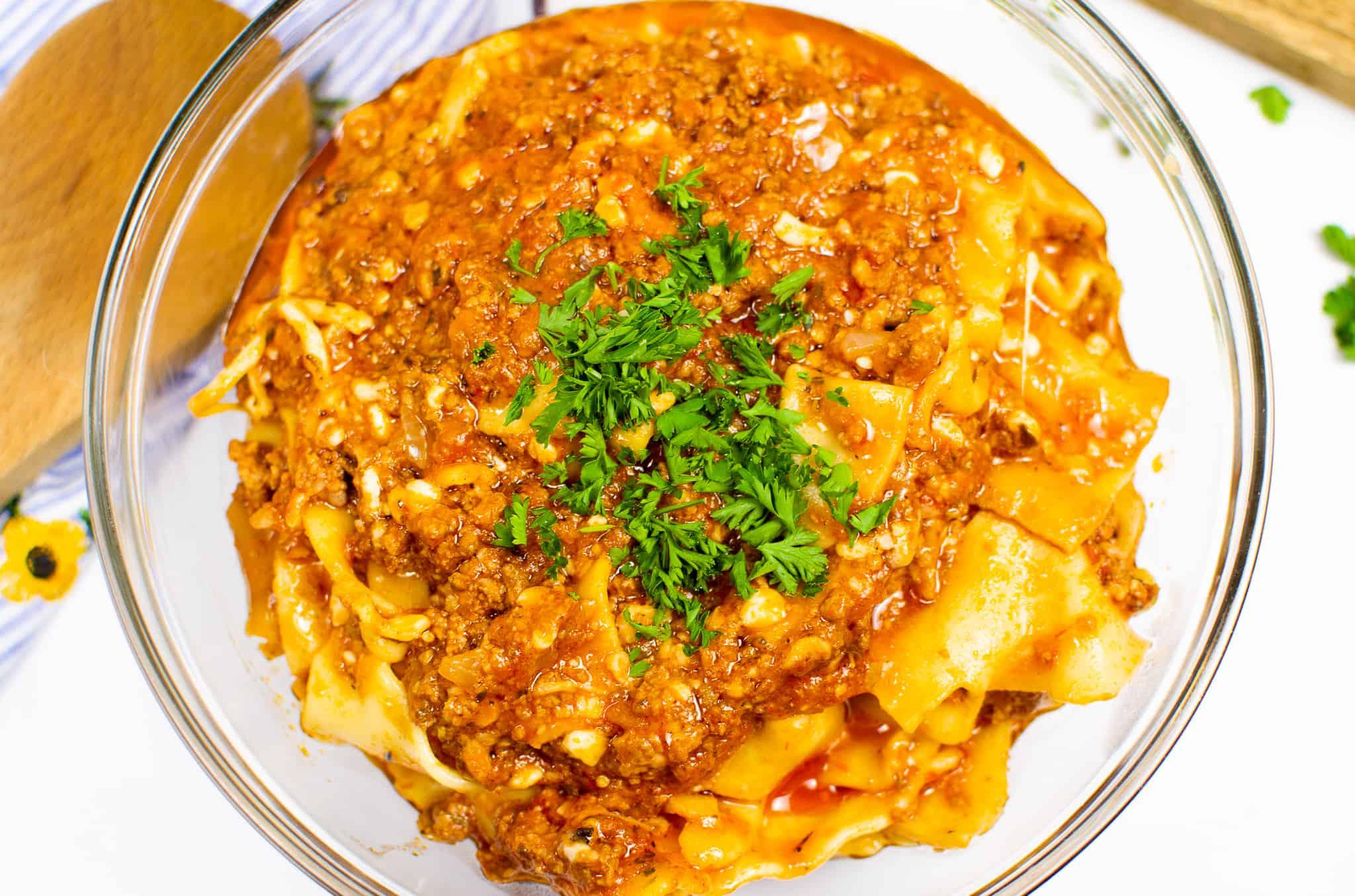 Bowl of Instant Pot Lasagna