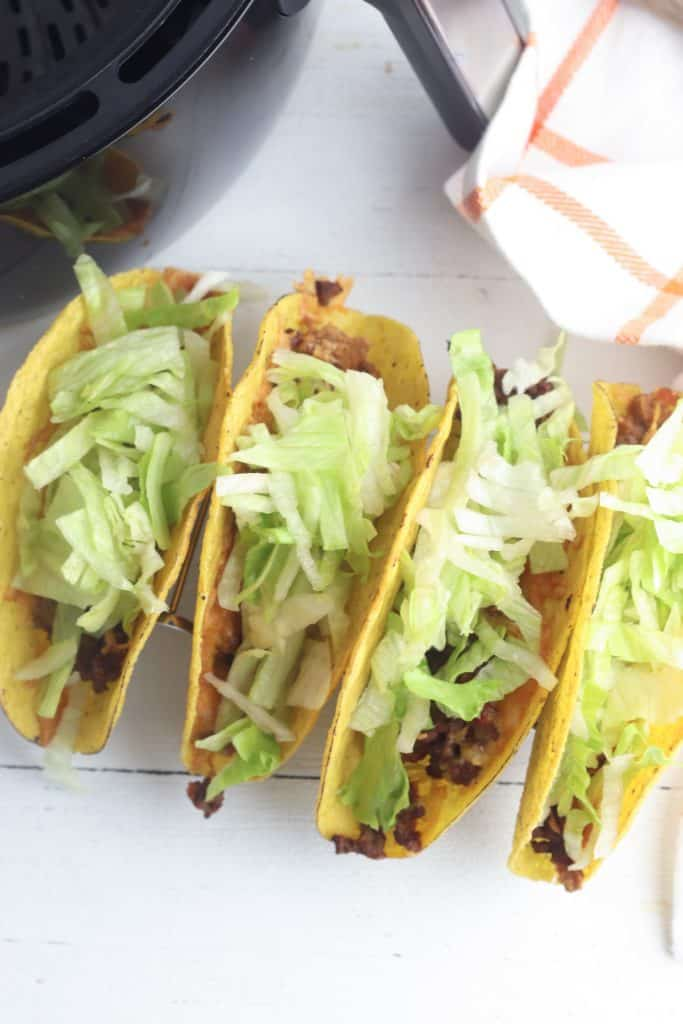 Air Fryer Tacos lined up
