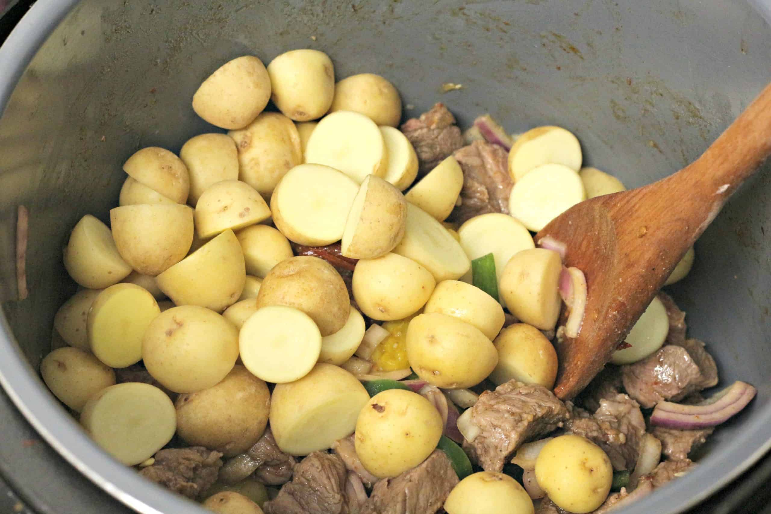 potatoes and beef cooking