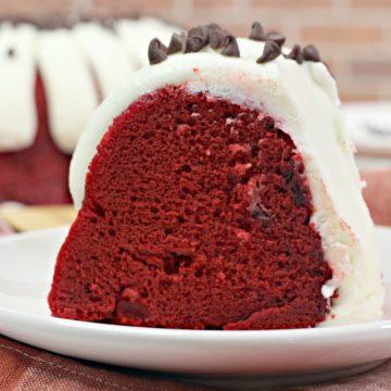 Slice of Red Velvet Bundt Cake