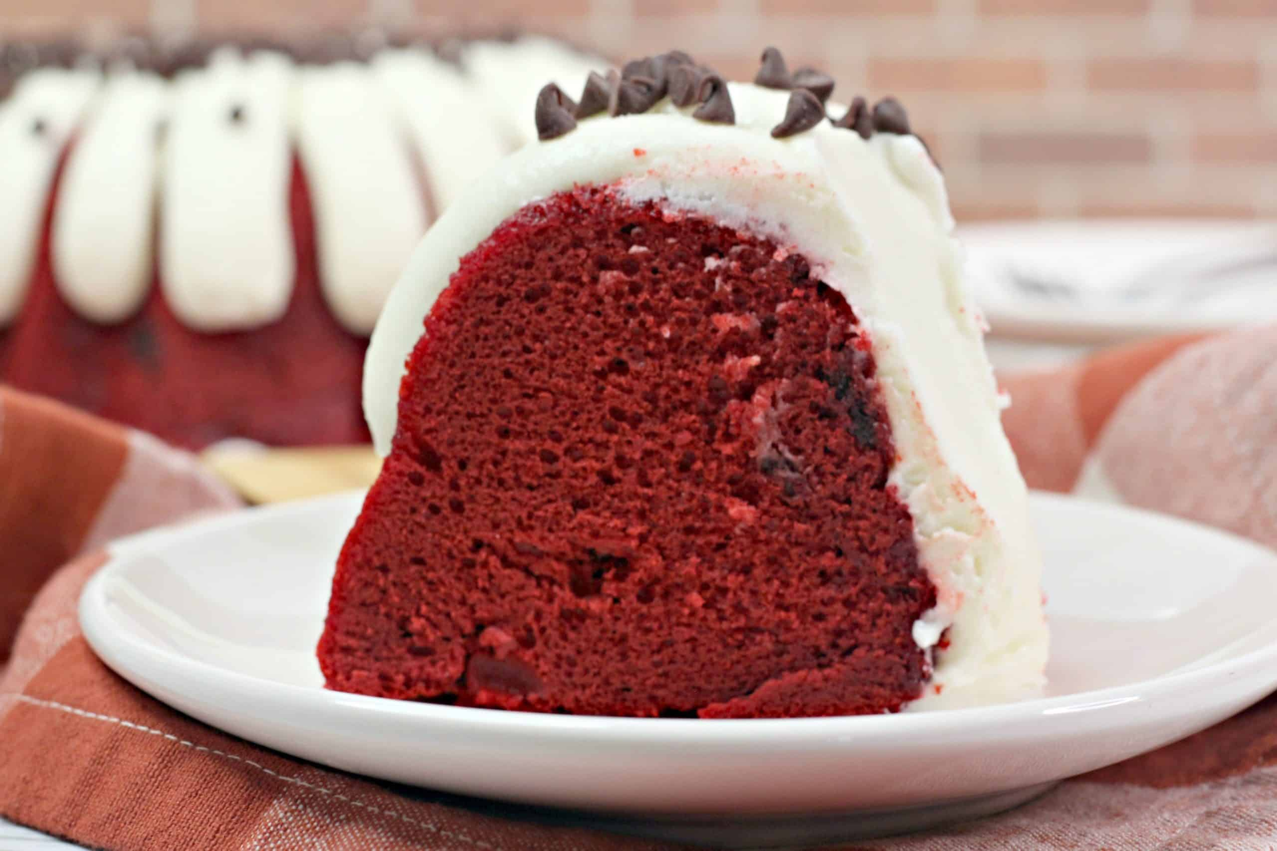 Slice of Red Velvet Bundt Cake