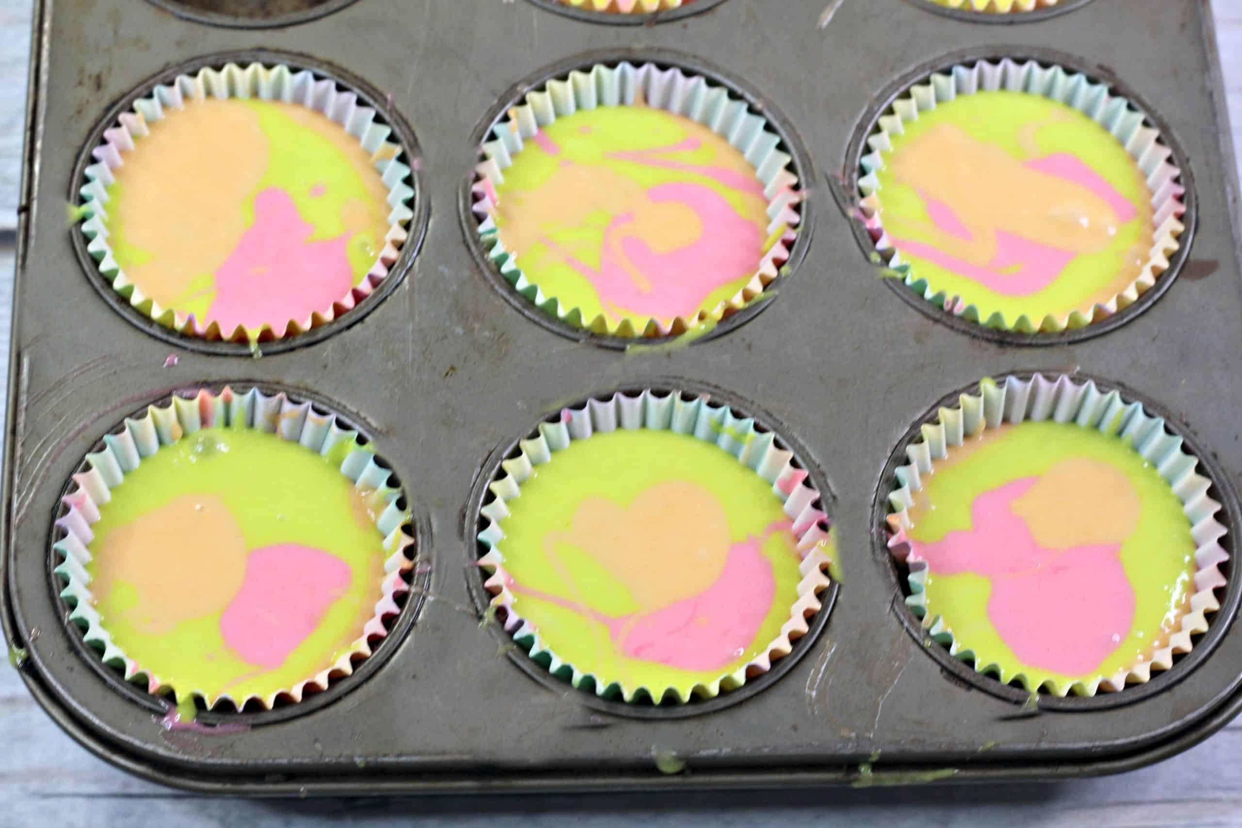 filled cupcake tin