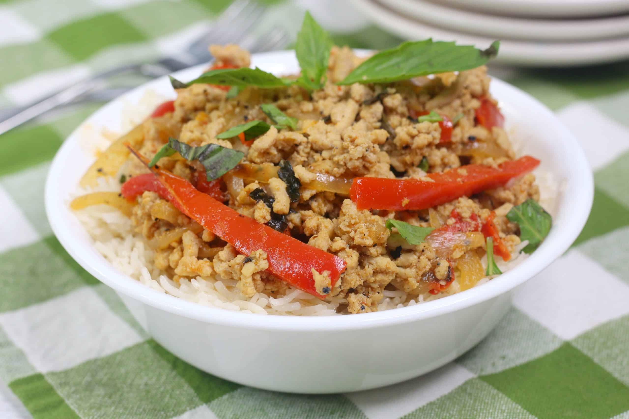 Bowl of Thai Chicken Stir Fry