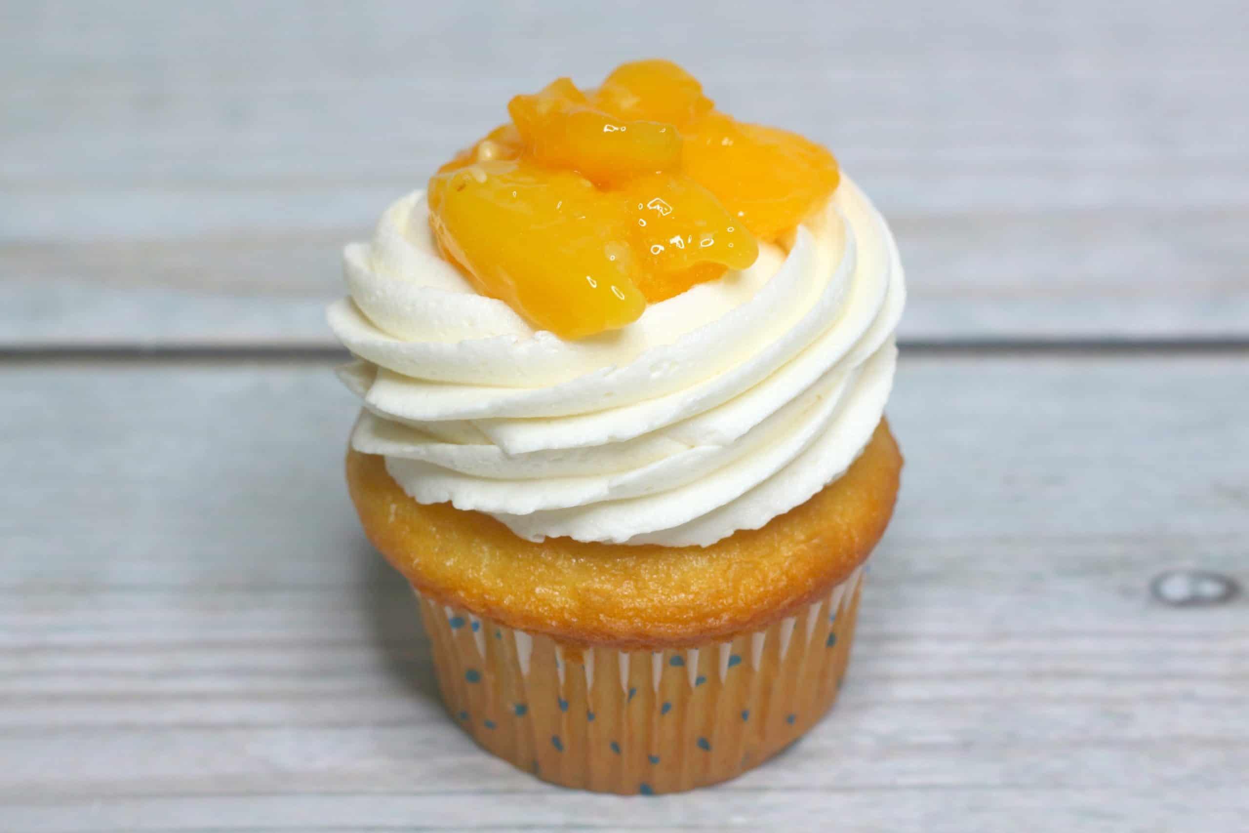 peach pie filling on cupcake