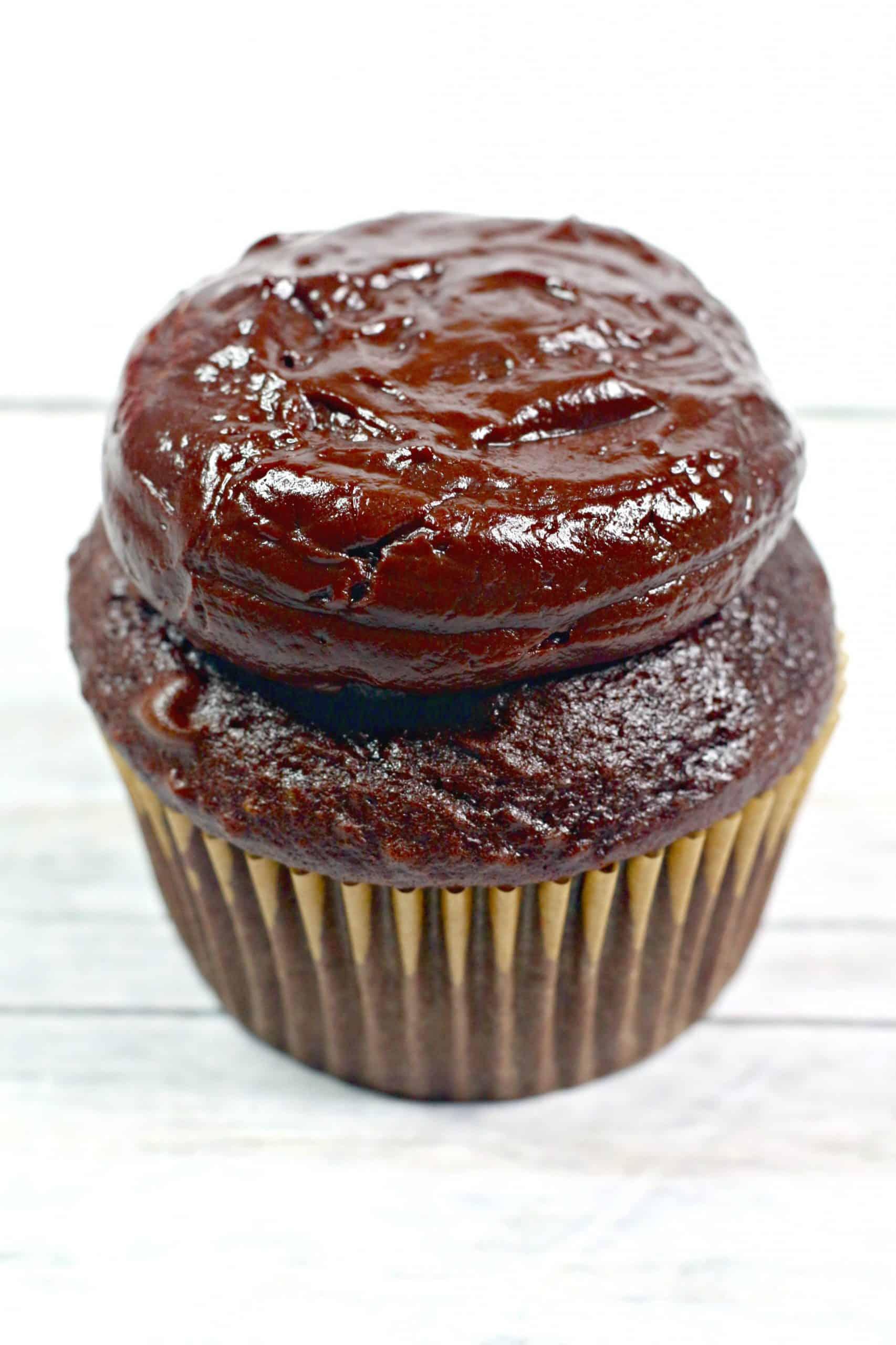 ganache on cupcake