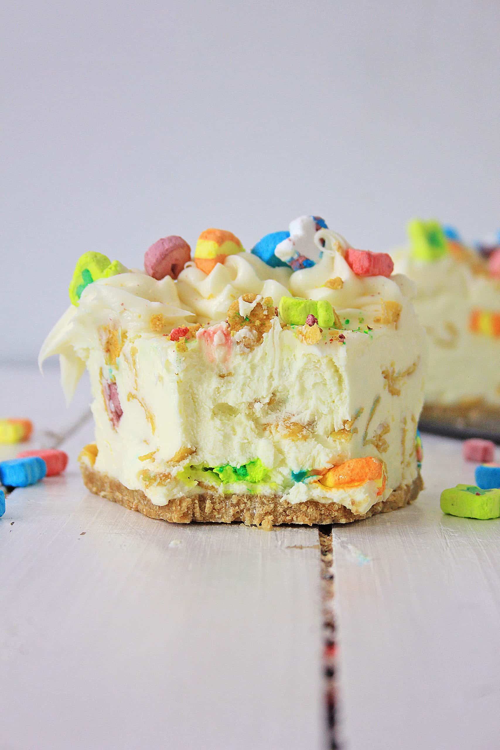 Slice of Lucky charms cheesecake missing bite