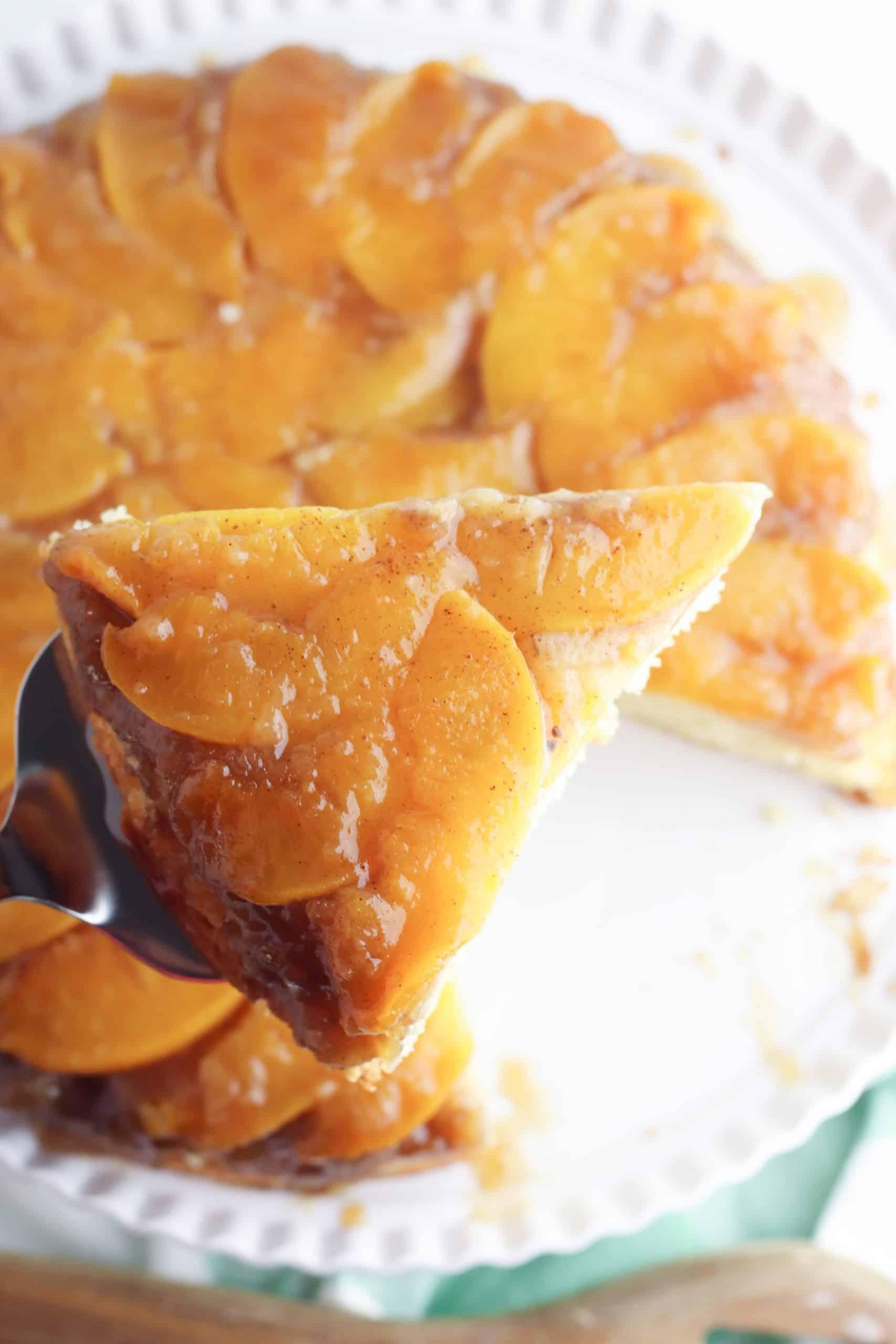 Peach Upside Down Cake Slice