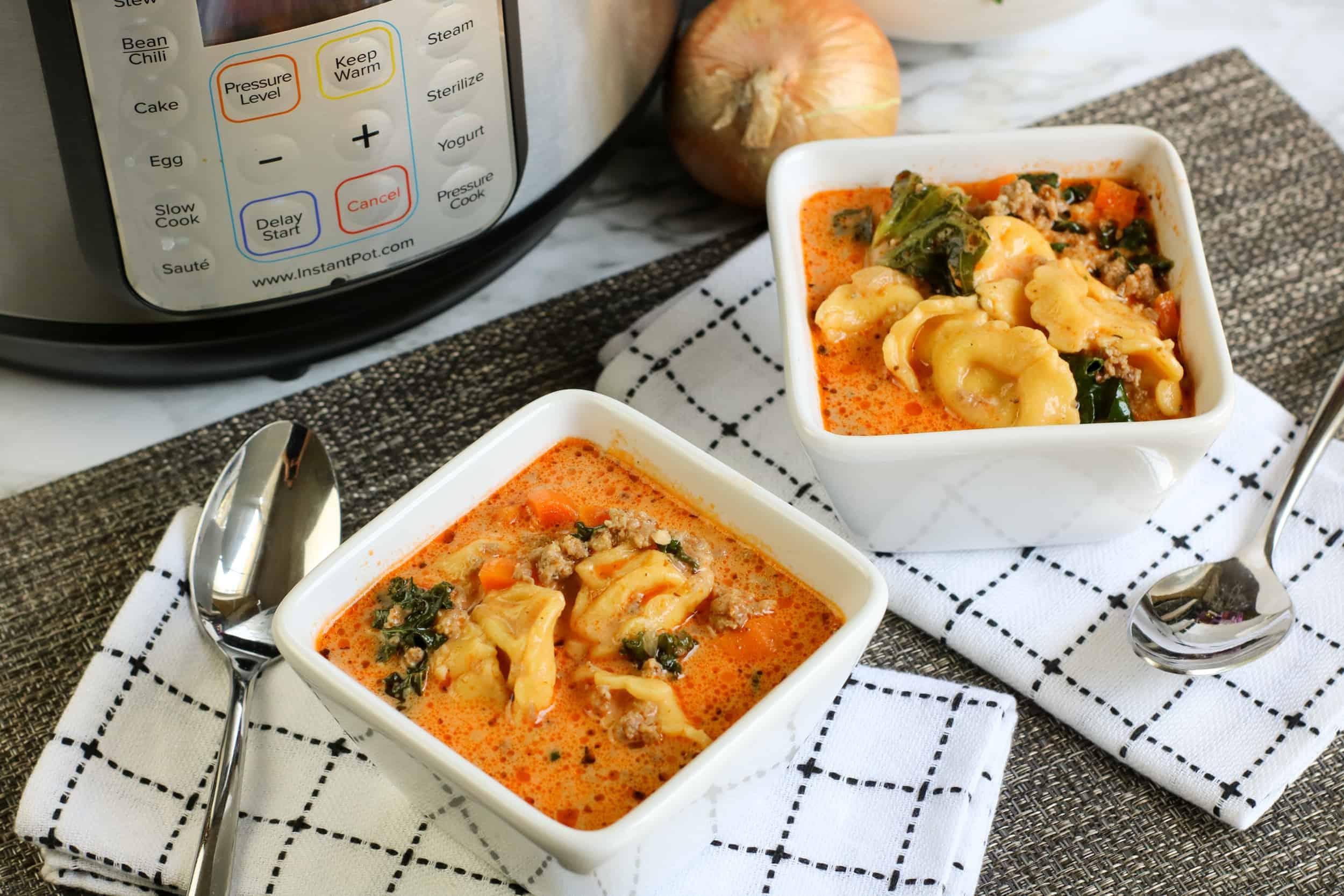 Instant Pot Pork Sausage Tortellini Soup