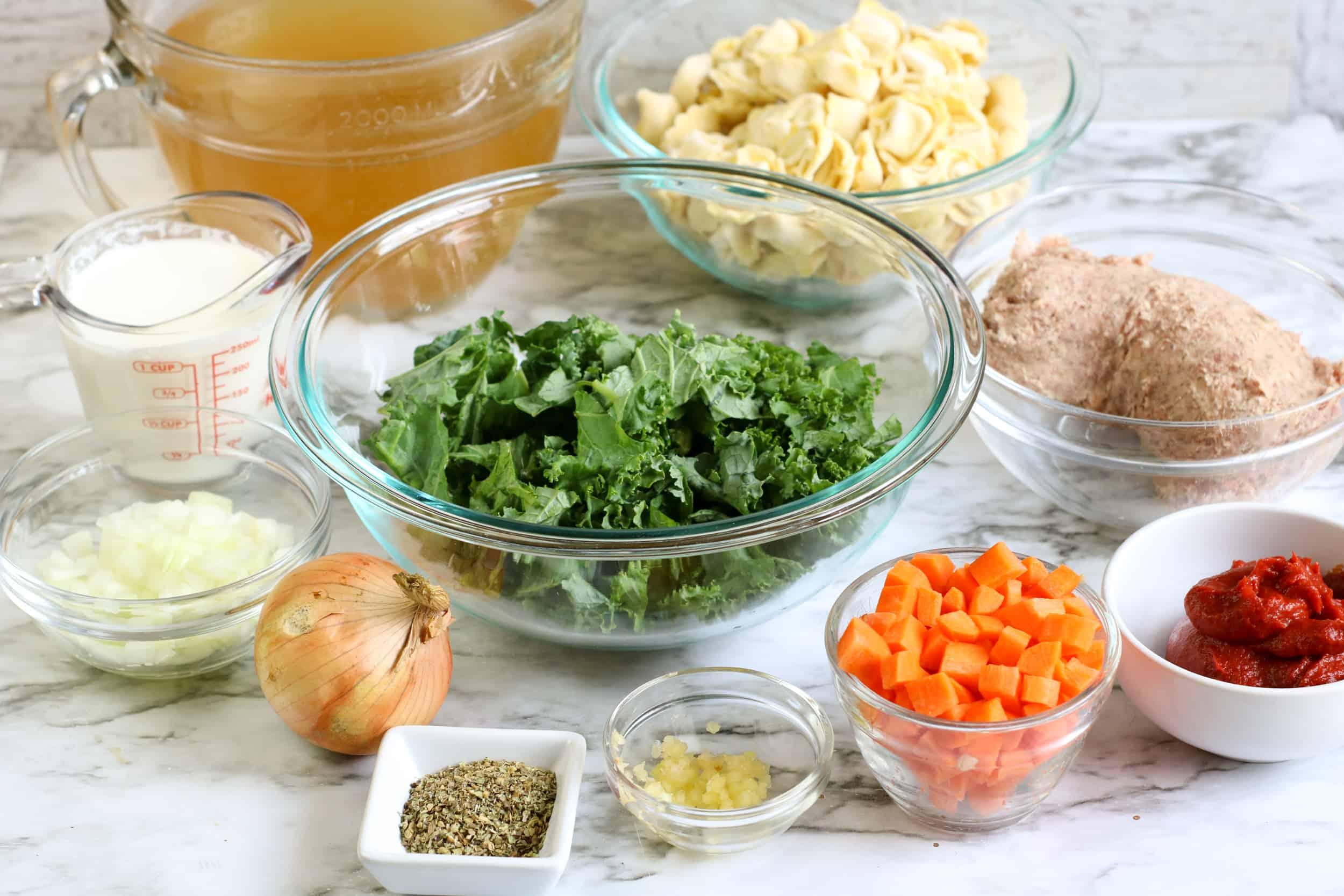 Ingredients for Pork Sausage Tortellini Soup