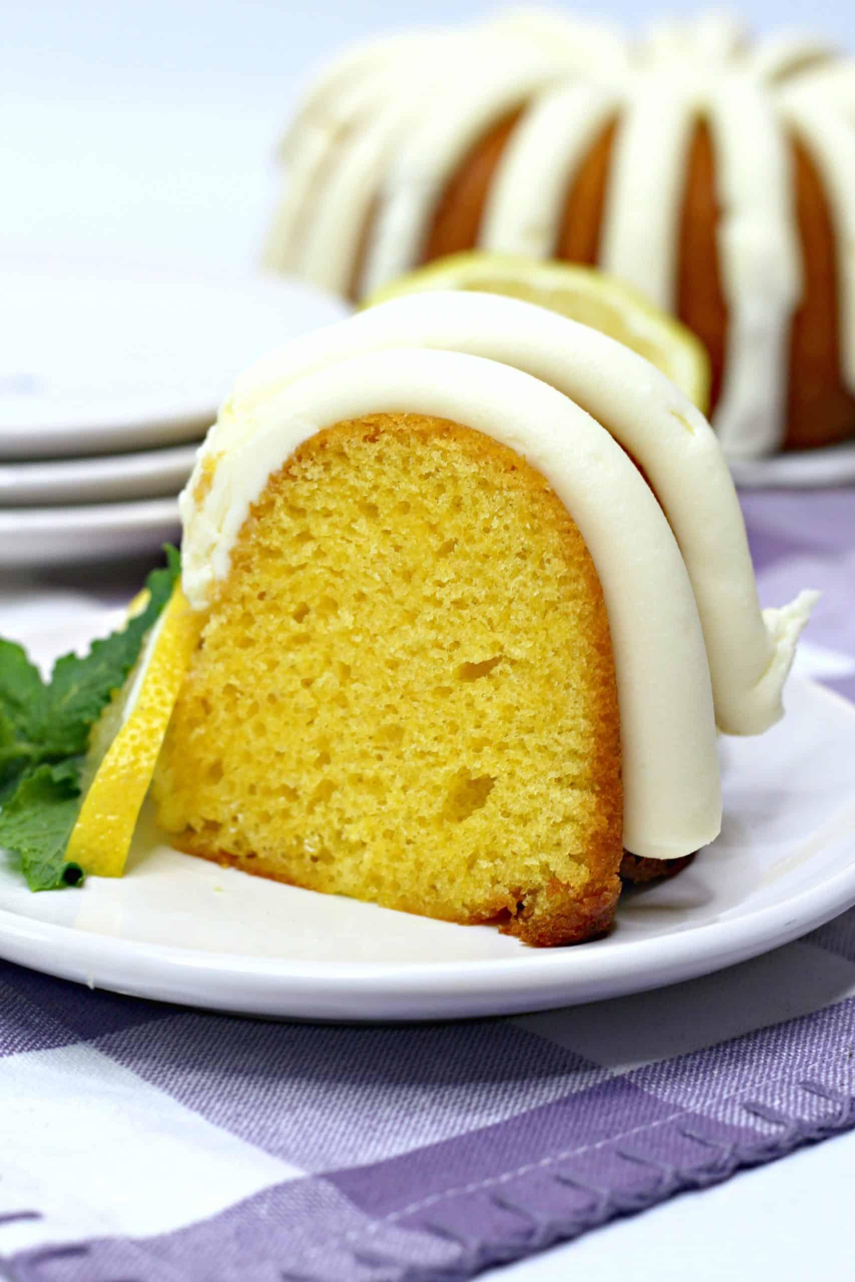 Slice of lemon bundt cake