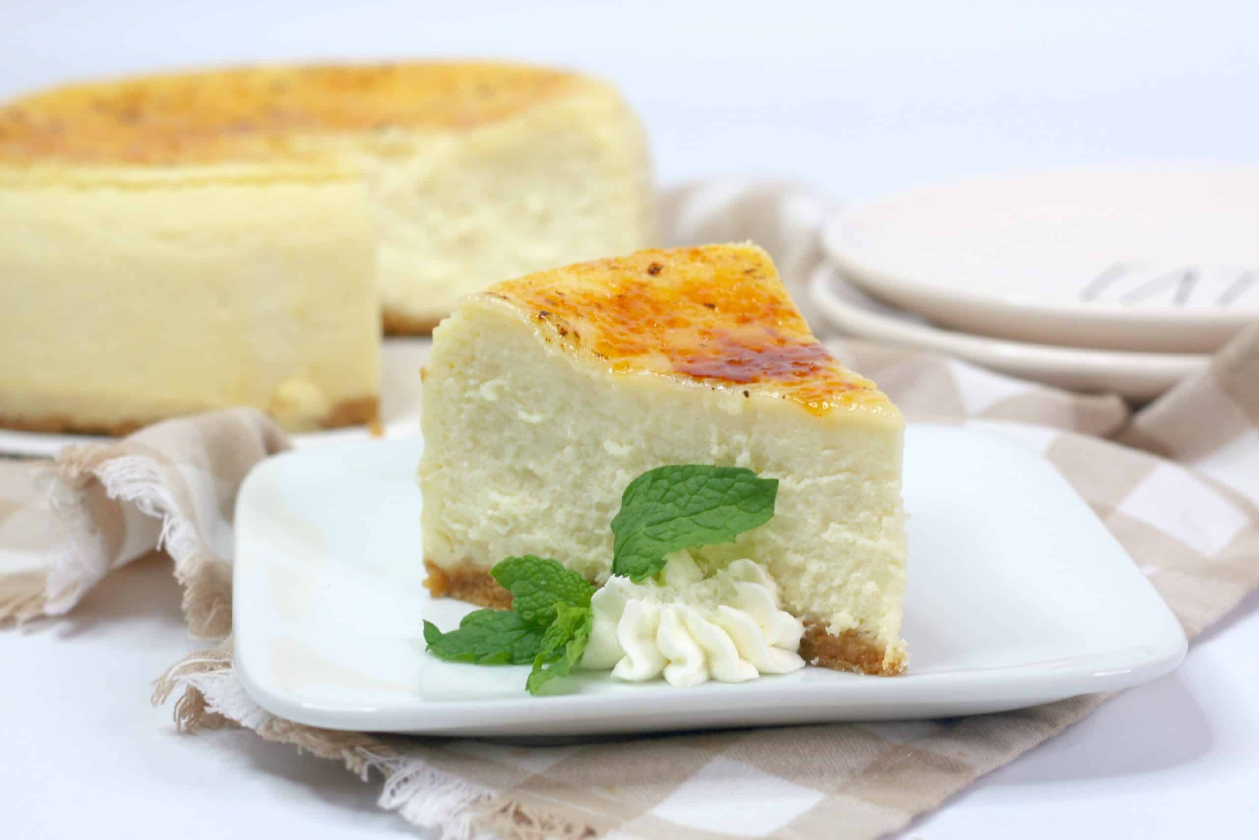 slice of Creme Brulee Cheesecake