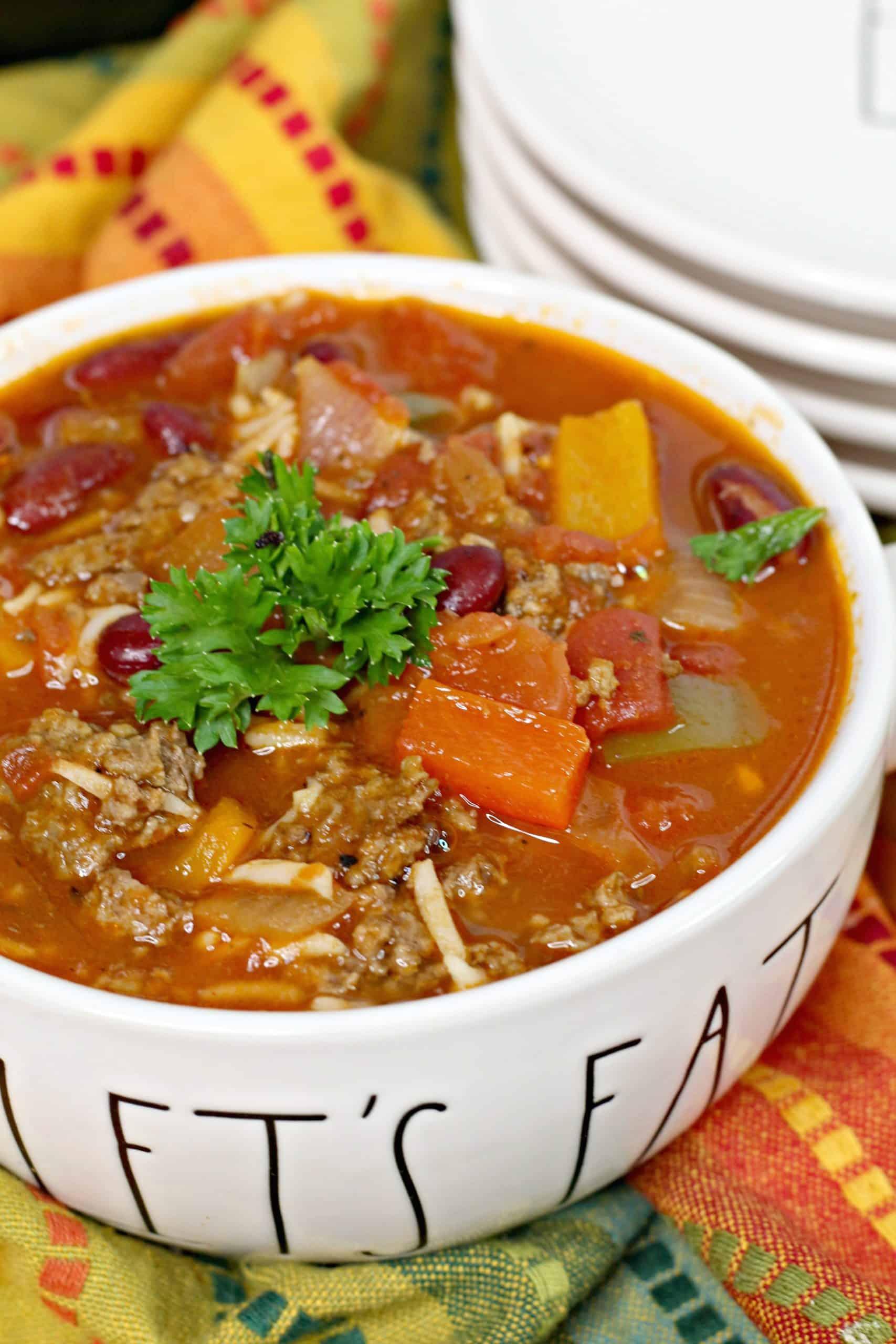 Bowl of Instant Pot Stuffed Pepper Soup
