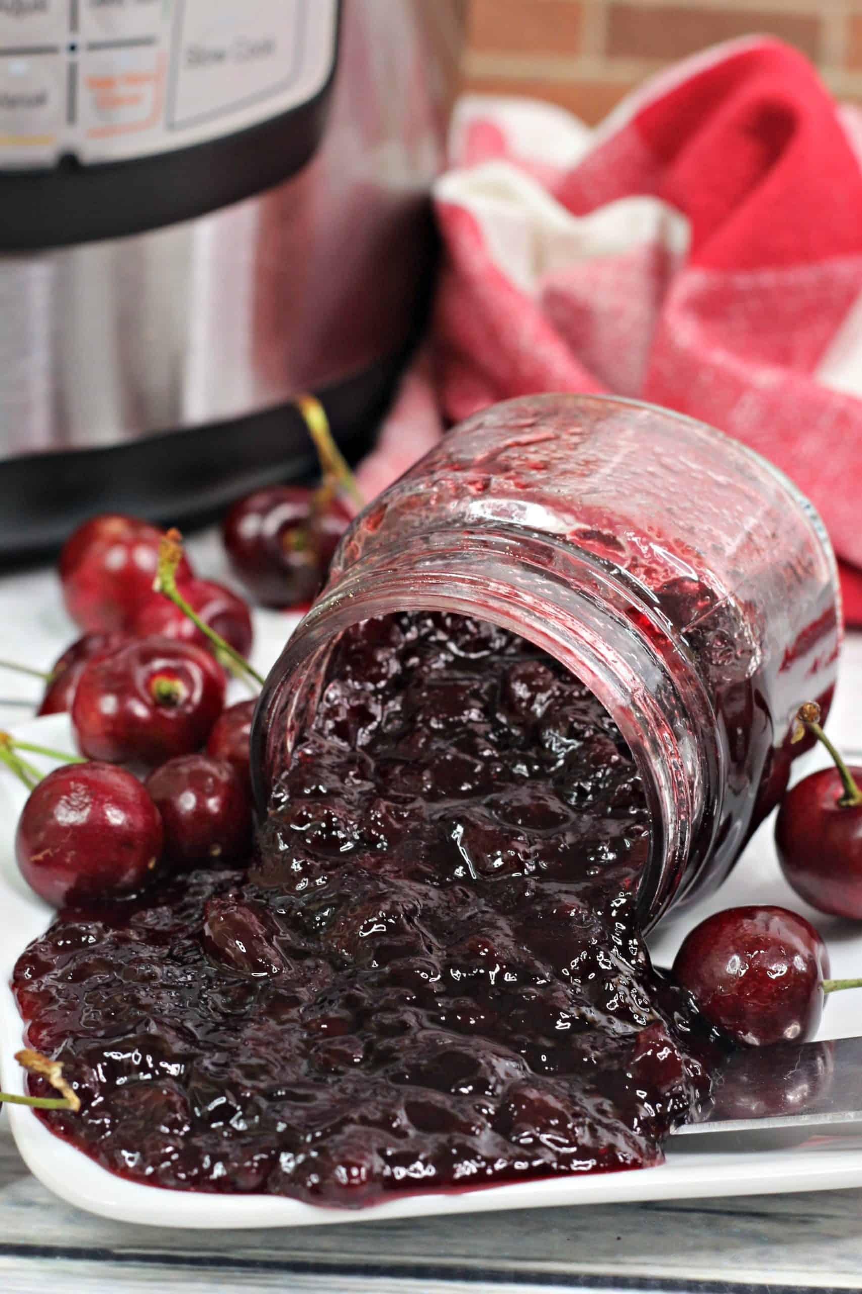 Cherry Jam spilled on plate