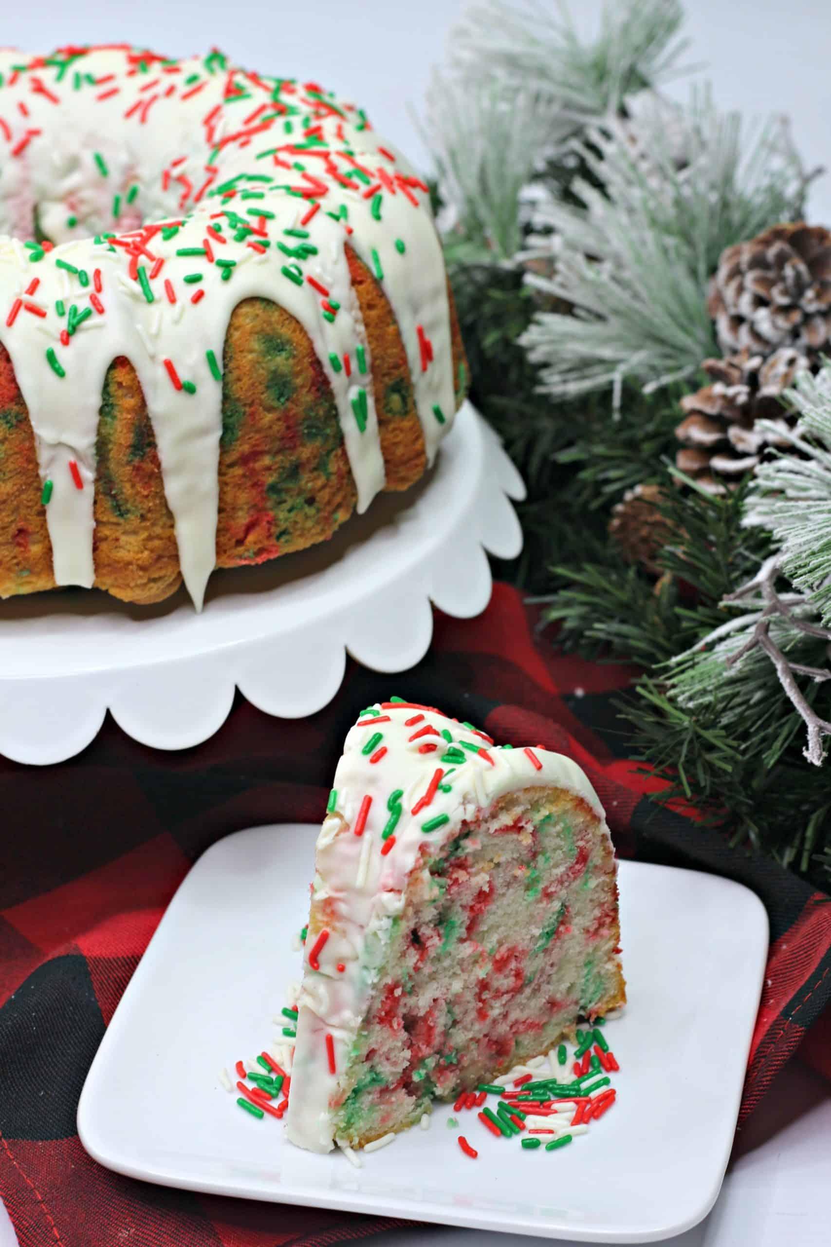Christmas Funfetti Cake Slice