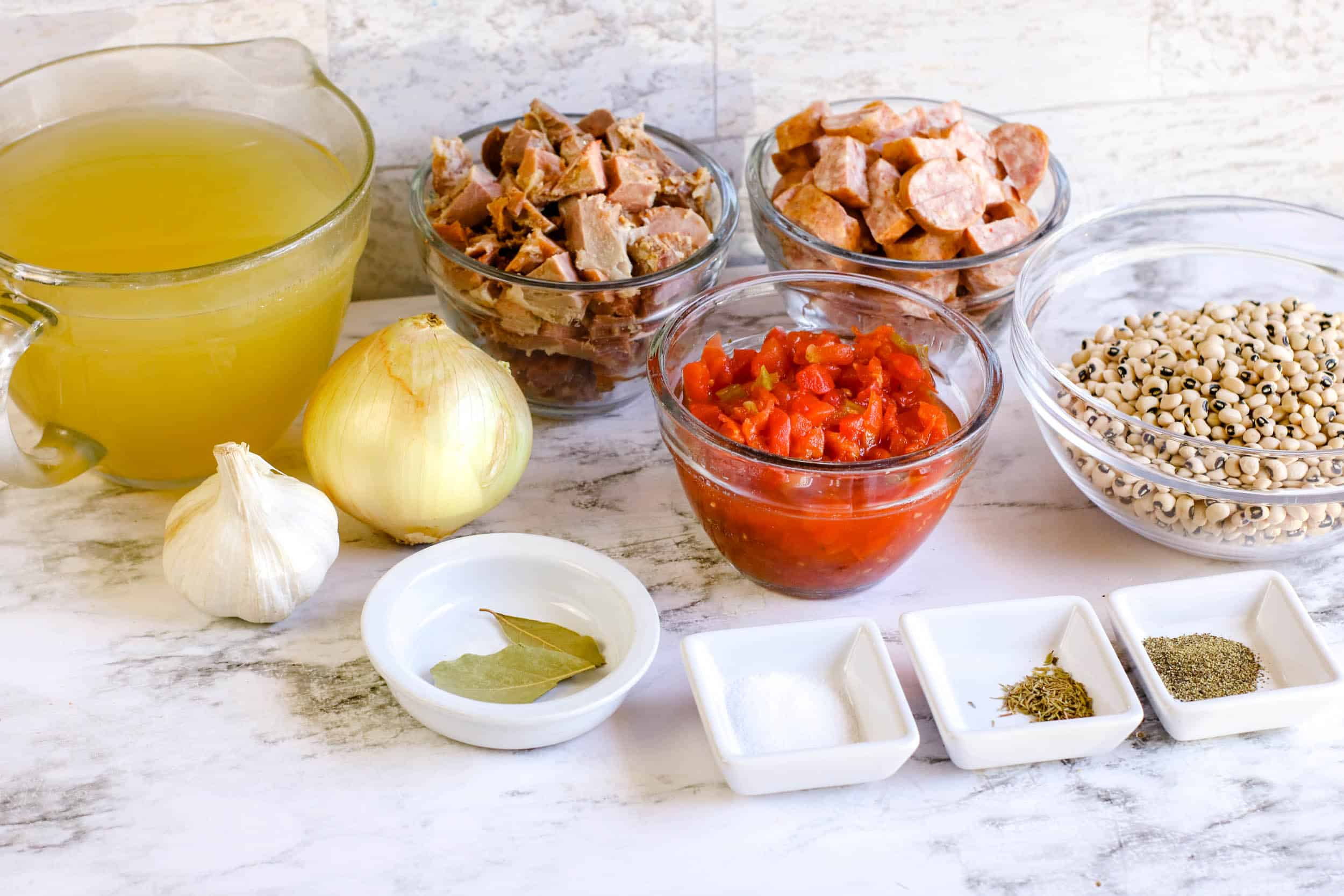 Ingredients for Instant Pot Spicy Black Eyed Peas with Sausage