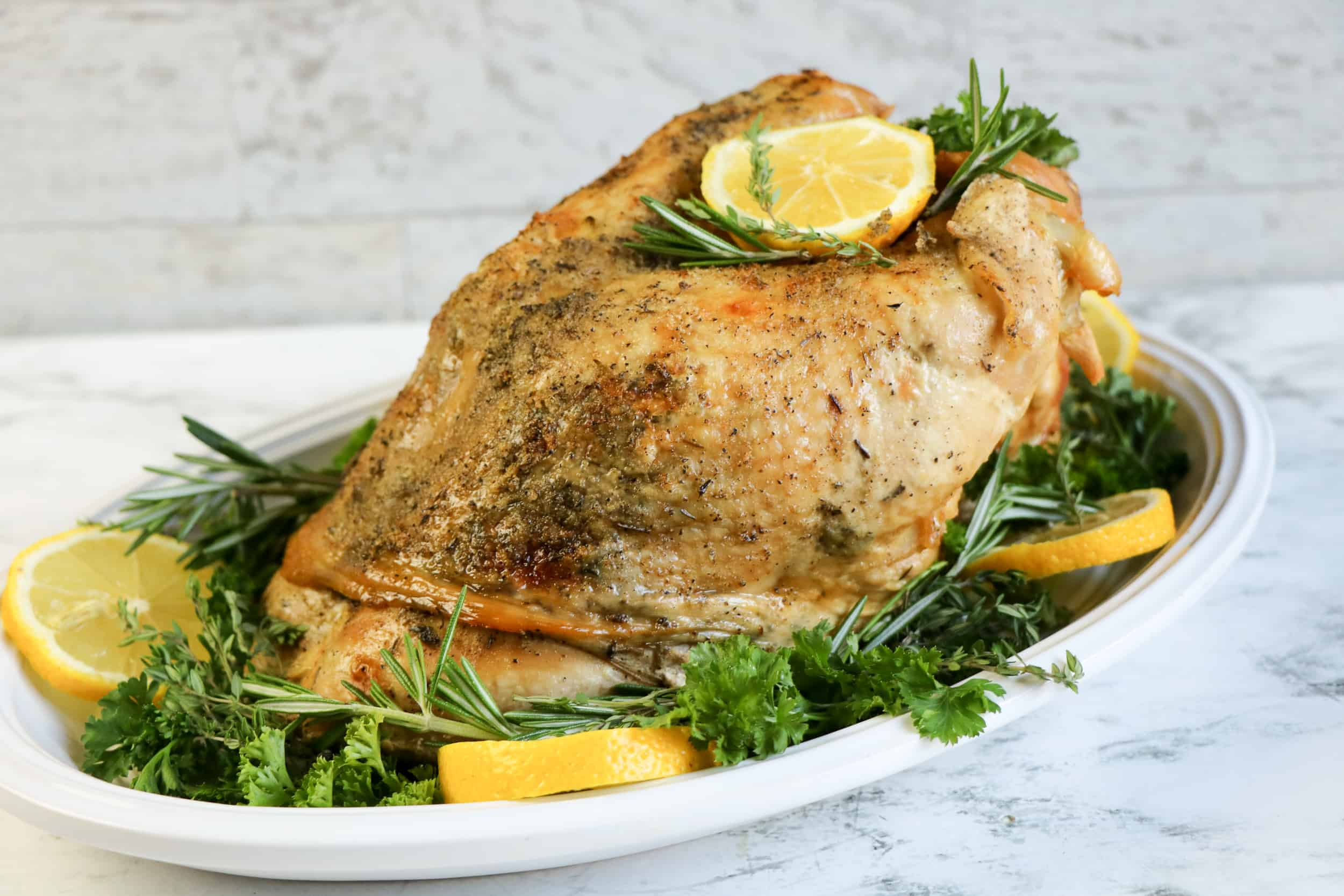 turkey breast on platter