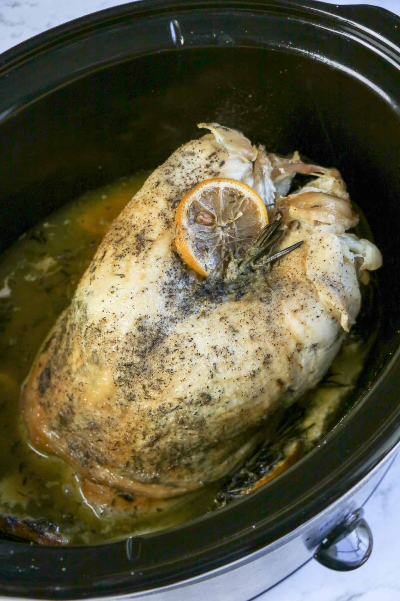 cooked turkey breast in slow cooker