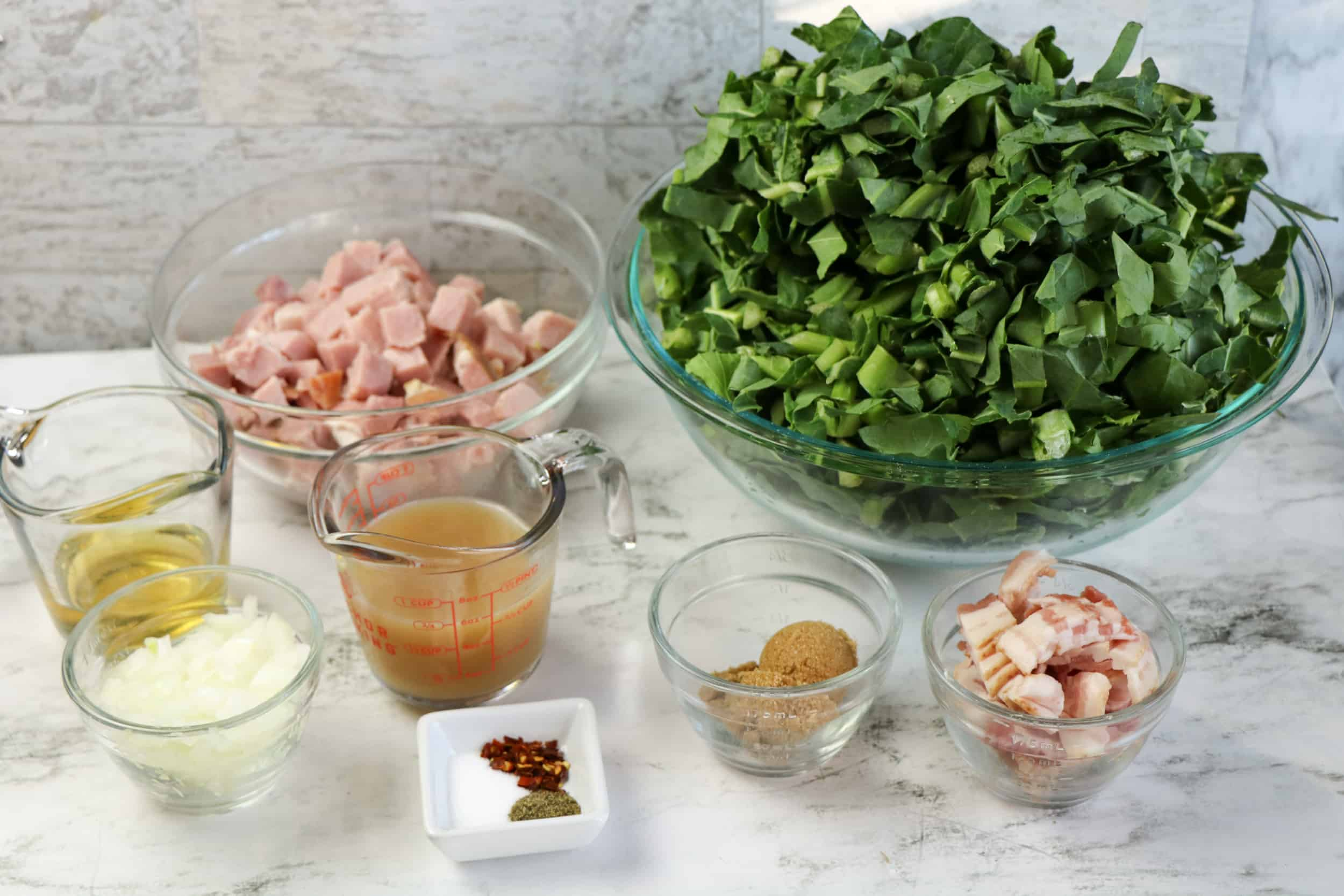 Ingredients for Instant Pot Collard Greens