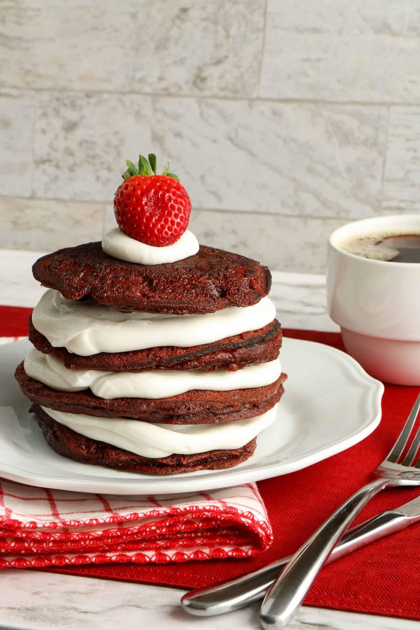 red velvet pancakes on plate